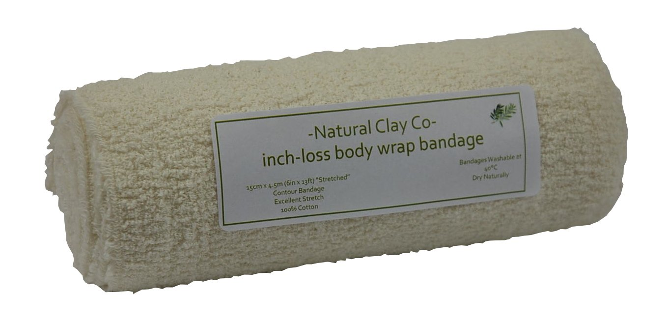 2 x Large 100% Cotton elasticated contour body wrap bandages Natural Clay Co 31058