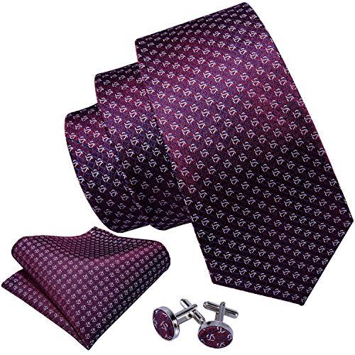 - Barry.Wang Solid Burgundy Ties for Men Set Woven Silk Designer