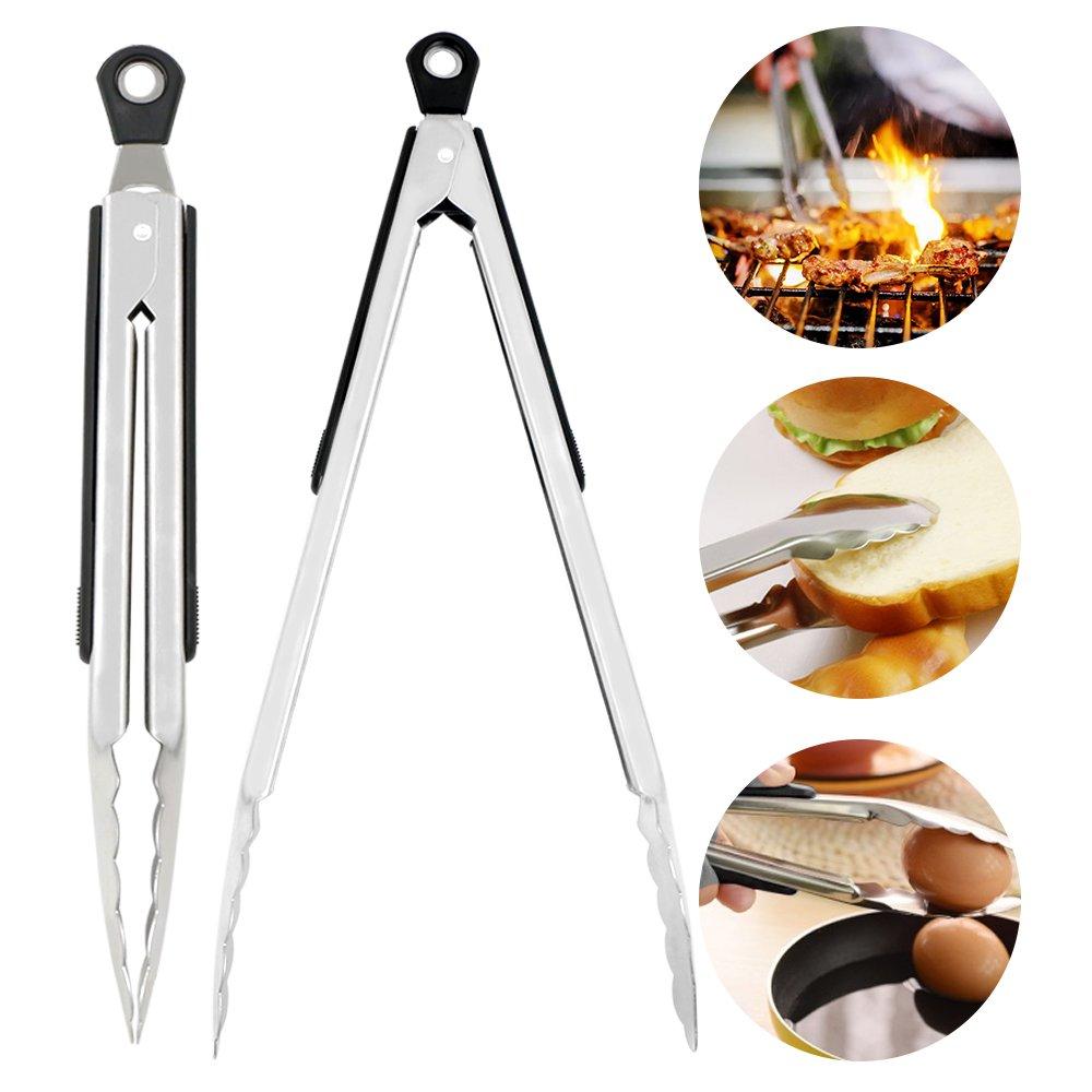 Pinces de cuisine,Bukm Pinces en silicone pour la cuisine en acier inoxydable Pinces en silicone r/ésistantes /à la chaleur Poign/ée en antid/érapante pour cuisson Cuisson,Noir 9 inch /&12 inch