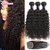 Brazilian Kinky Curly Hair Weft With Closure 3 Bundles with 1pc Lace Closure Free Part 10 12 14+10 inch Closure Remy Human Hair With Closure