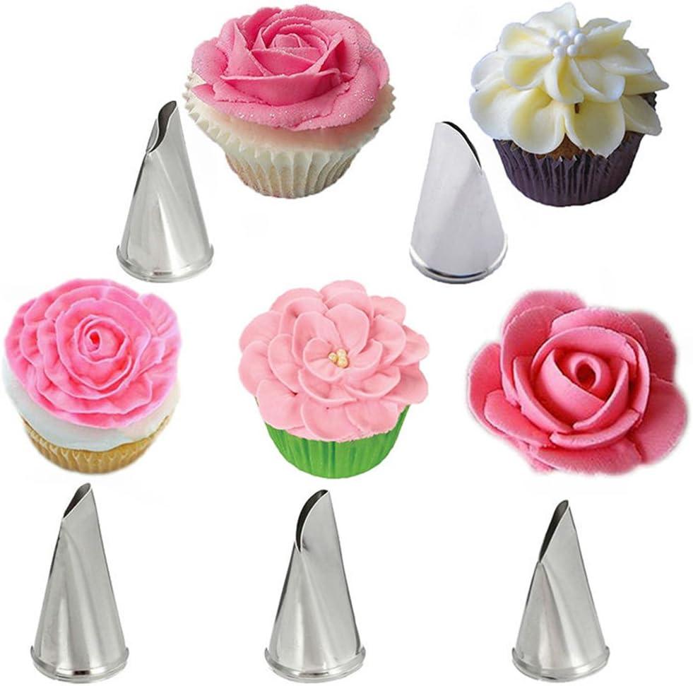 Acero Inoxidable Boquillas para Manga Pastelera - 5 Piezas Boquillas flores repostería Set - Traje de Consejos de Pastelería para Crema de la Torta, Decoracion de pasteles, Galletas, Cupcakes #2