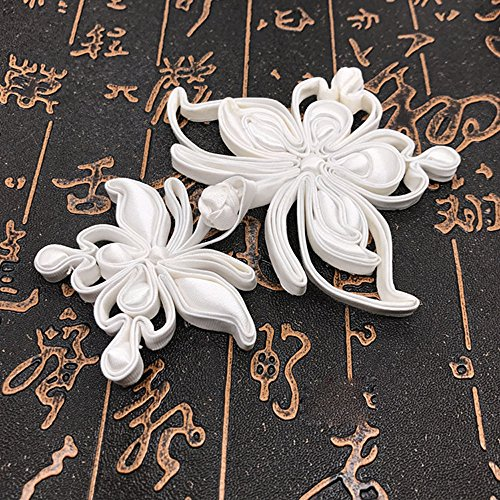 - Lyracces Sewing Fasteners knotting butterfly satin Chinese knot Cheongsam Frogging Button 1pair (white)