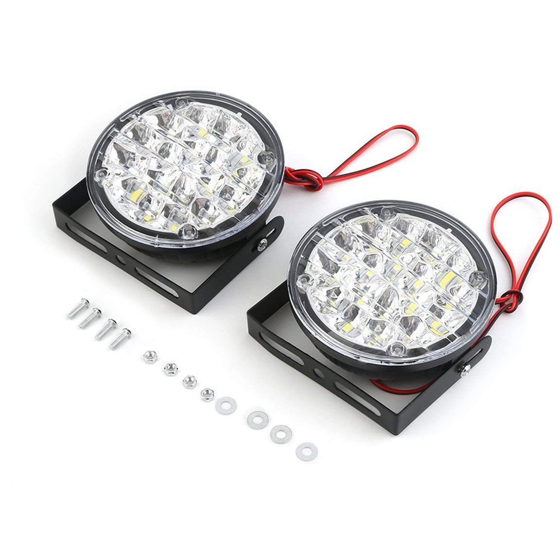 2pcs/Set Waterproof 24V 18 LEDs Round Shape Auto Car Fog Lamp Driving Daytime Running Light with Ultra Brightness SeniorMar