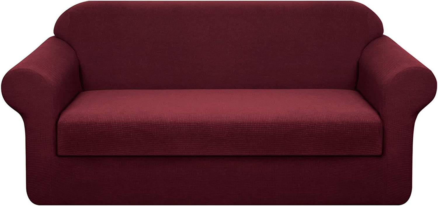 Granbest Stretch Sofa Slipcovers 3 Cushion Couch Covers Water-Repellent Pet Furniture Covers Dog Couch Protectors (Wine Red, Medium-2 Pieces)