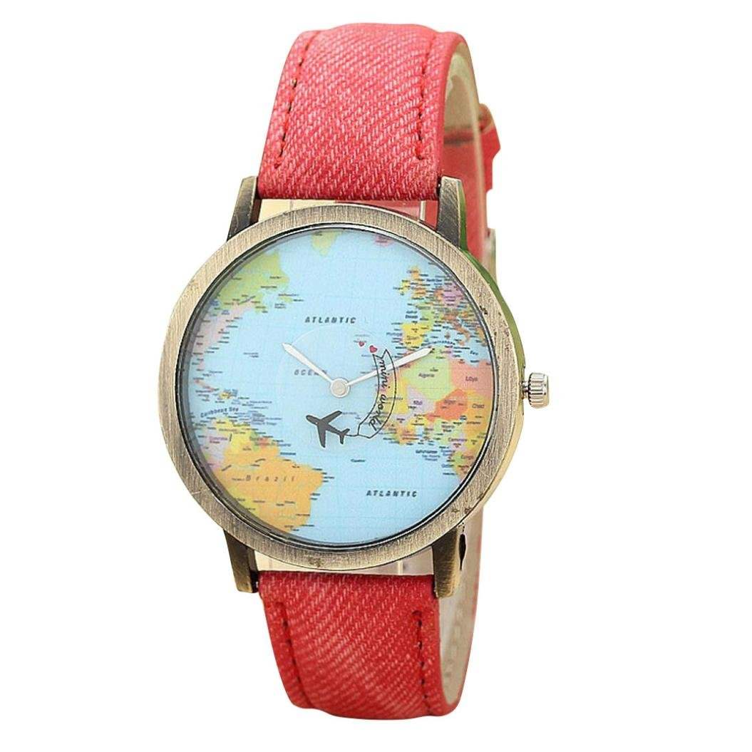 Amazon.com: Womens Watch,Special Global Travel By Plane Map Bracelet Denim Fabric Band Ladies Wristwatch Axchongery (Black): Clothing