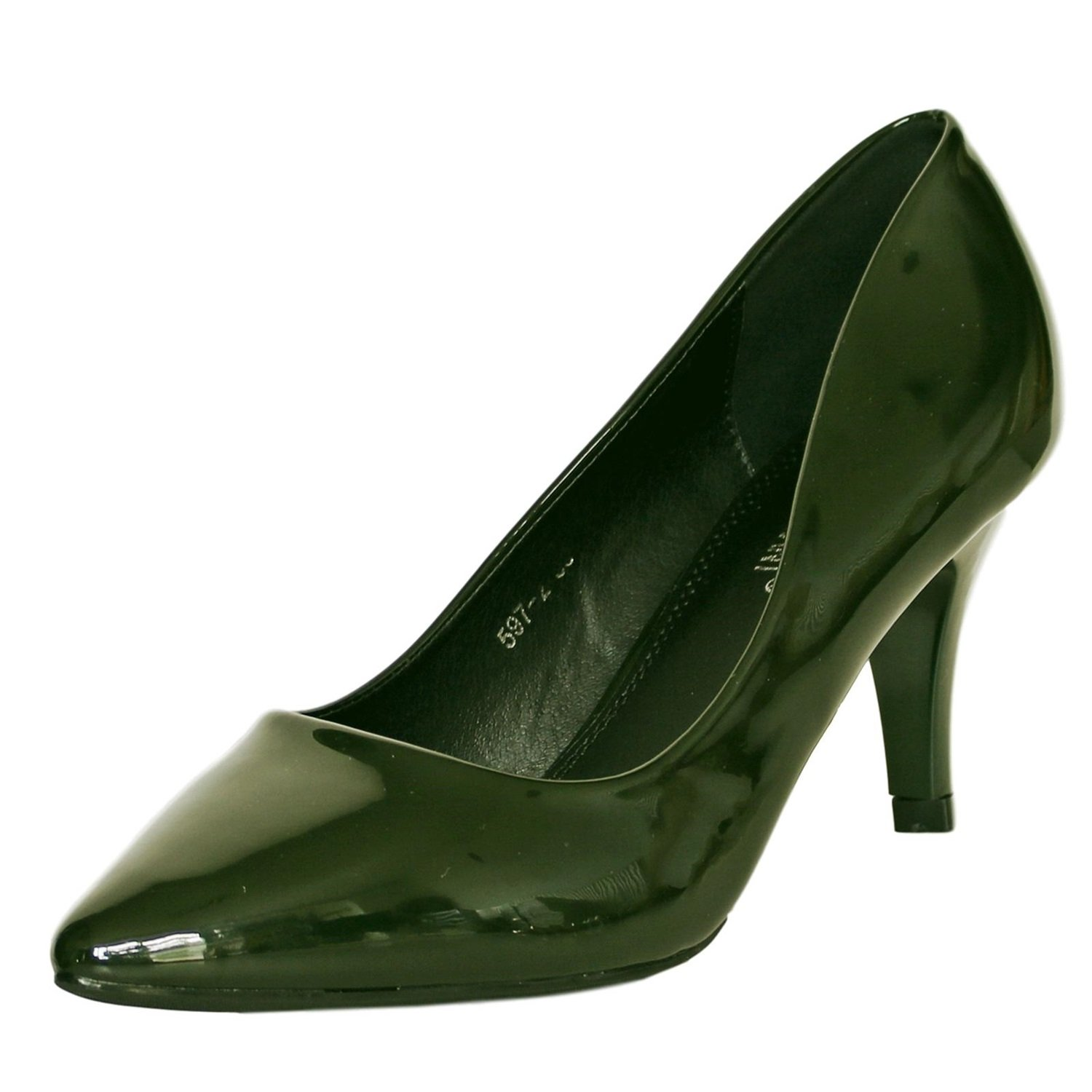 Rock on Styles Ladies Women Patent Low Mid Heel Evening Party Office Casual Court Shoes Pumps Size-5972
