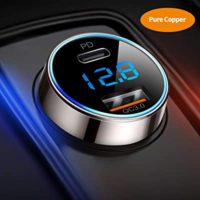 [Pure Copper] USB C Car Charger, SUPERONE 36W 6A Dual USB Car Charger Adapter with 18W PD Port, Quick Charge 3.0 and LED Voltmeter for iPhone 11 Pro Max, Google Pixel 4/4 XL, Samsung S10 and More: Automotive