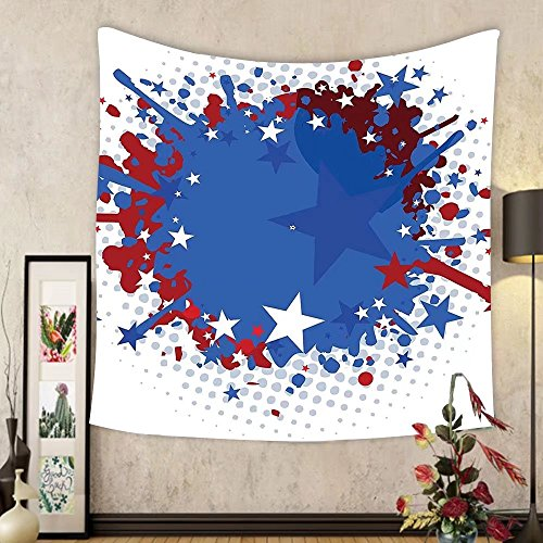 Gzhihine Custom tapestry Sports Tapestry Football Soccer Ball with Splashed Like Digital Background Image for Bedroom Living Room Dorm 80WX60L Ruby Dark Blue White and Red by Gzhihine