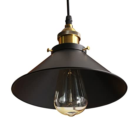 hot sale online 38df1 6181f Jeteven Ceiling Pendant Light Metal Hanging Lamp Shade Fixtures Industrial  Vintage Edison Lighting with 1.1m Cord for E27 Bulb (Black