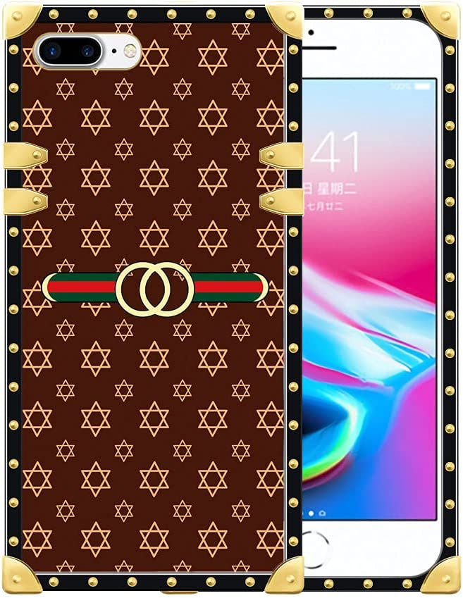 iPhone 8 Case,iPhone 2020 SE Case, Classic Retro Pattern iPhone 7 Cases for Women Girls,Luxury Square Soft TPU and Hard PC Back Stylish Retro Cover Shock Protective Case for iPhone 7/8/SE2