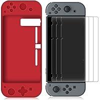 FineGood Estuche de Silicona para Nintendo Switch con 3 Protector de Pantalla, Protector Suave y Antideslizante Funda de Carcasa con Anti-Scratch Pet Films Skins - Rojo