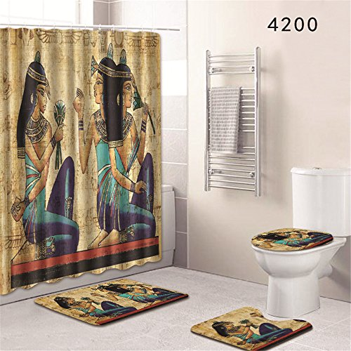 Oyeahbridal Set of 4 African Ancient Egyptian Psychedelic Shower Curtain and Bath Mat Set,Egyptian Mural Decor Waterproof Non-slip Bathroom Curtain and Rug Set with Hooks(Multi 2)