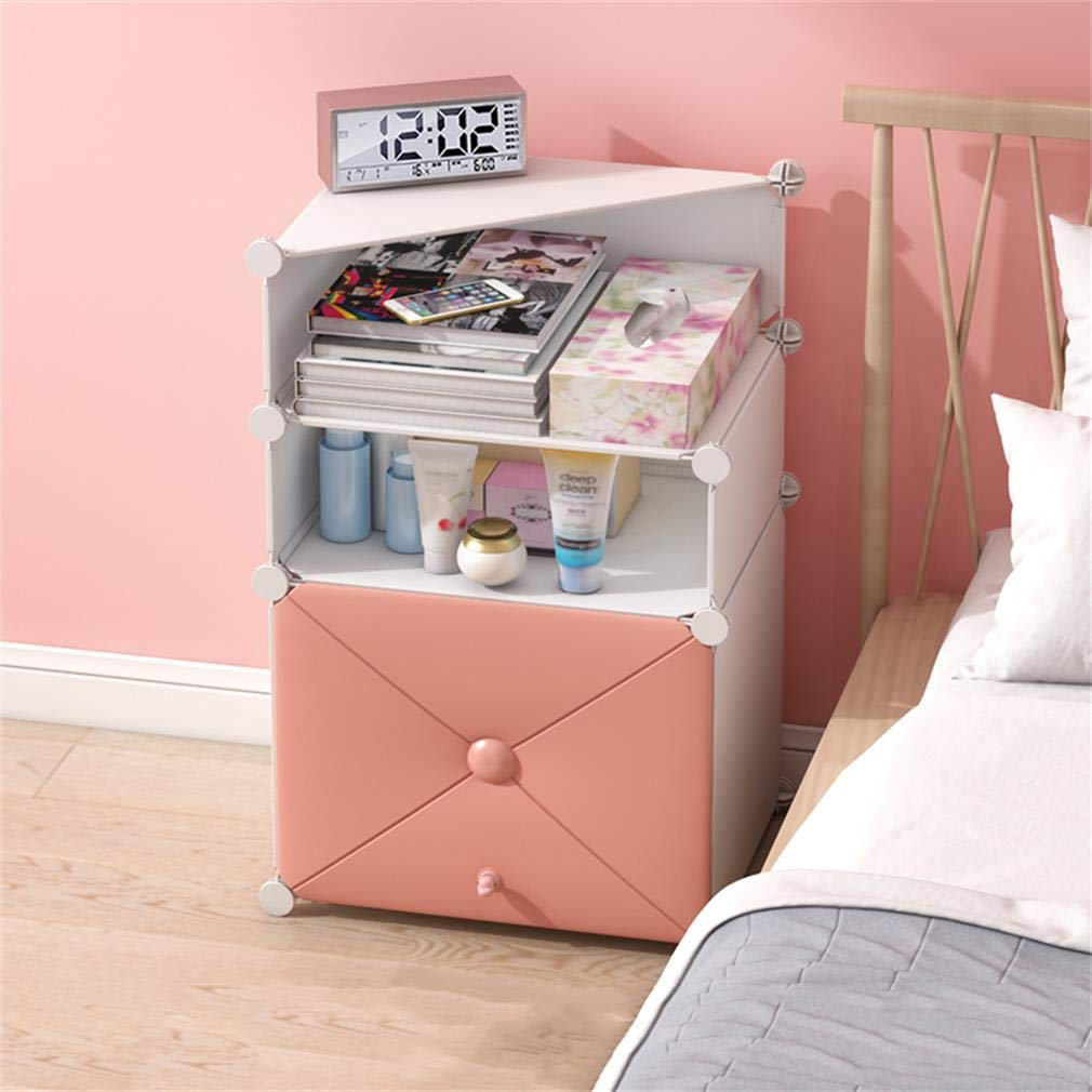 E ALUS- Bedside Table Simple Multi-Functional Assembly Locker Mini Storage Cabinet