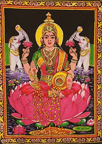 cotton-fabric-goddess-laxmi-lakshmi-31-x-40-tapestry-india-with-sequins-work