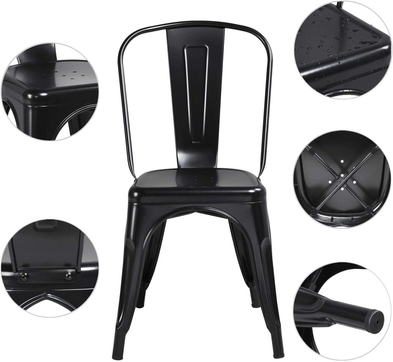 Yaheetech Set de 4 Taburetes de Bar Sillas Industriales Altura 45 cm Negro