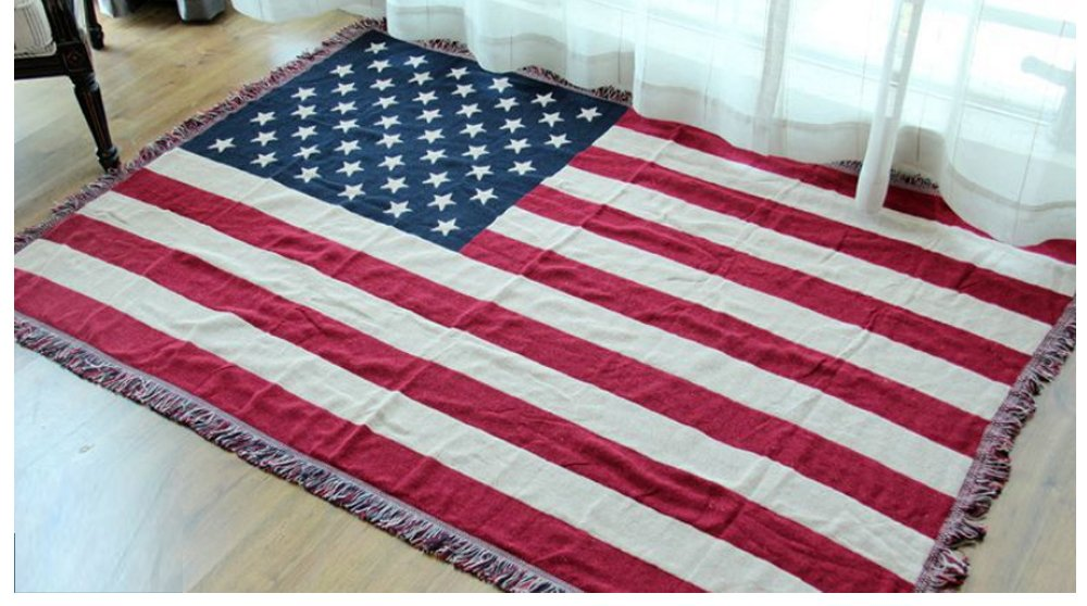 American flag Sofa Slipcover Furniture Protector Home Decor - with Fringe Cotton by HugeHug(90x98 inch)