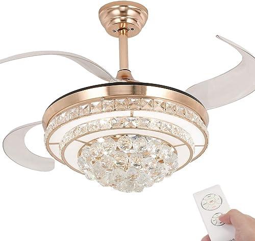 BAYSQUIRREL Crystal Ceiling Fan