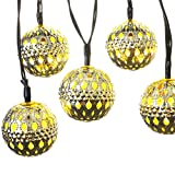 LUCKLED 11ft 10 LED Moroccan Ball Solar String Lights, Fairy Globe Lantern Lights Decorative Lighting for Indoor/Outdoor, Home, Garden, Patio, Lawn, Path, Party and Holiday Decorations (Warm White)