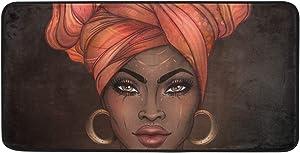 CiCily Doormat Area Rug Mat African American Woman for Bedroom Front Door Kitchen Indoors Home Decors