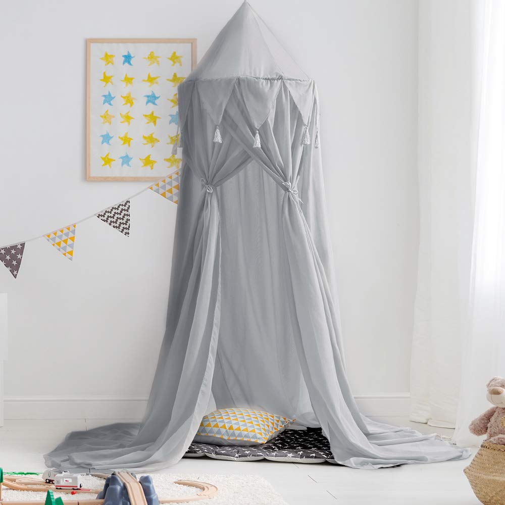 Didihou Bed Canopy for Girls Mosquito Net Princess Bed Canopy Hanging Play Tent Bed Netting for Kids Playing Reading Corner for Baby Boys and Girls (Chiffon-Grey) by Didihou