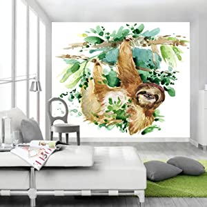 JAWO Watercolor Sloth Tapestry Sloth on Trees Cute Animal for Kids Wall Hangings Tapestries Bedroom Living Room Dorm Blanket Wall Art for Home Decor 71x60inches