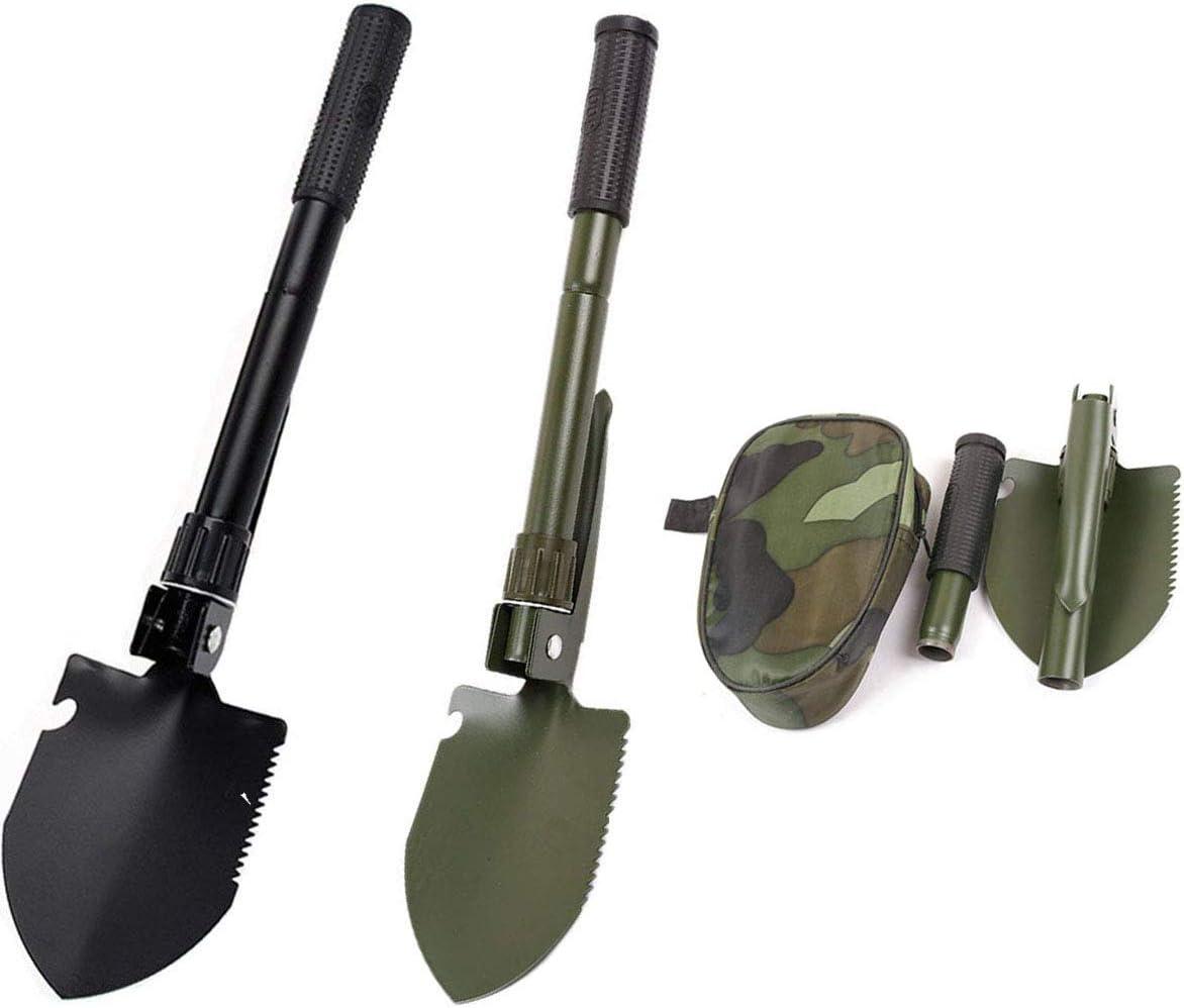 Tangger 2STK Mini Pala Plegable Multifuncional,Pala Portátil Plegable con Brújula para Senderismo Camping Jardinería Supervivencia Pesca,Color al Azar