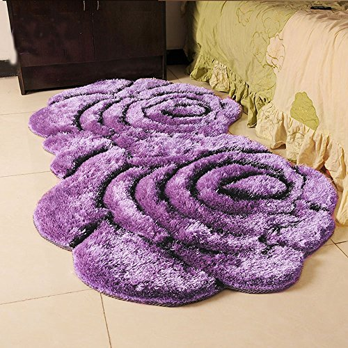 Wolala Home High-grade Thickening 3D Two Purple Roses Elastic Yarn Wedding Living Room Area Rugs (3'0x5'3, Purple)