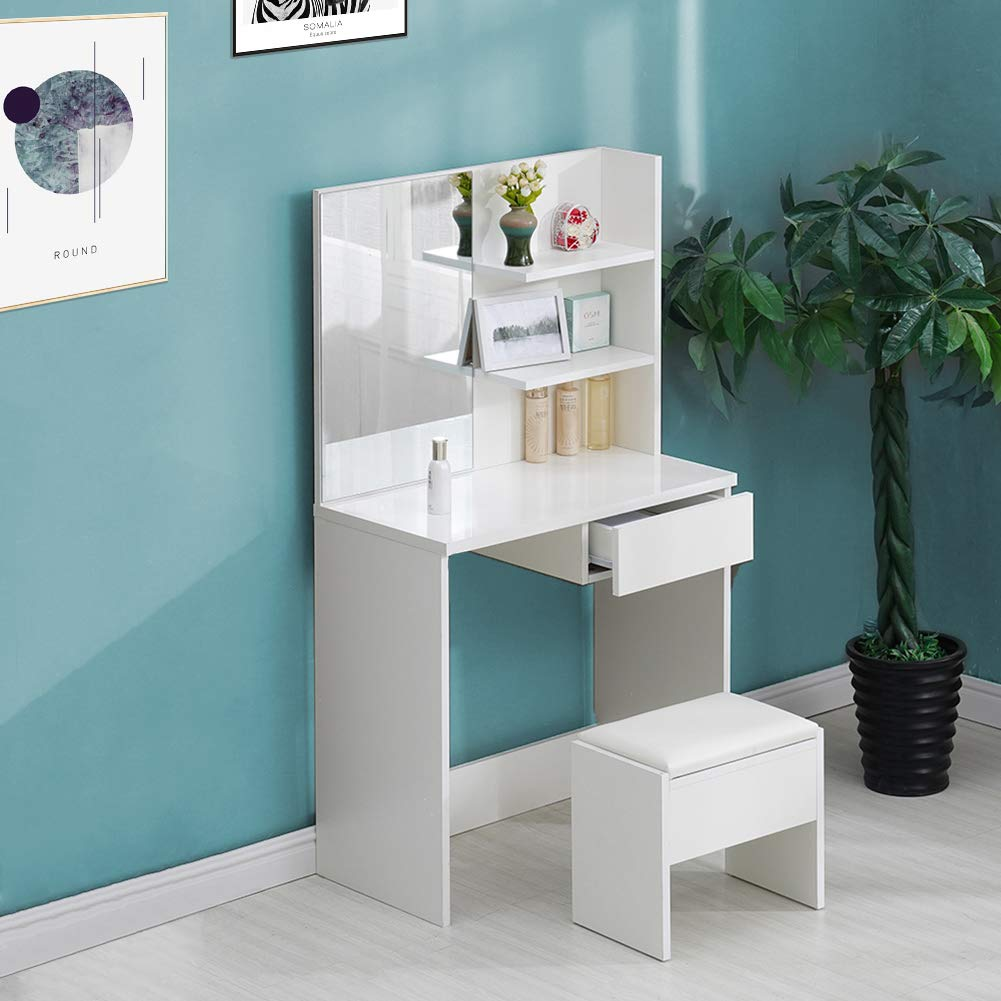 Big dressing table OFCASA Dressing Table with Stool and 3 Mirrors 5 Drawers Curved Shape White Dressing Table Bedroom Table for Corner Storage Makeup Desk Living Room Bedroom Furniture 114*61*140cm