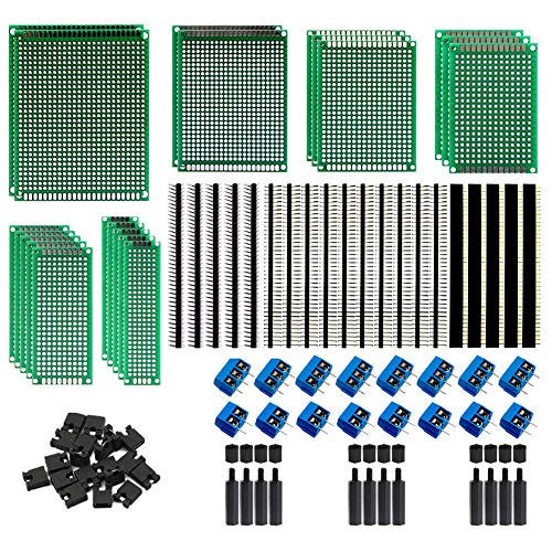 Tinify 20Pcs 6Sizes Double Sided PCB Boards + 2.54mm 40-Pin Male&Female Header Connectors + 5.08mm 2-Pin&3-Pin Screw Terminal Blocks + 2.54mm Jumper Caps + M3 Screw Nuts