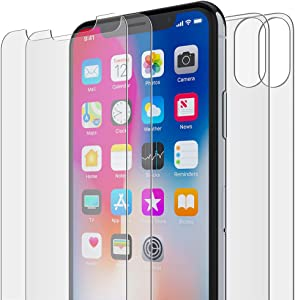 FlexGear iPhone X XS Front and Back Glass Screen Protectors, HD Clear, Tempered, Compatible w iPhone X/XS (2-Pack)