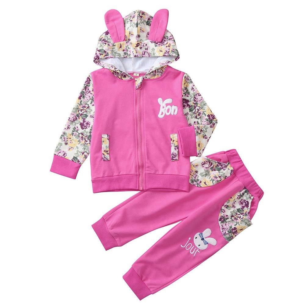 Kobay 2PCS Kinder Mädchen Langarm Blumen Karikatur Kaninchen Ohr Kapuzenpullover Top + Hosen Outfit Set
