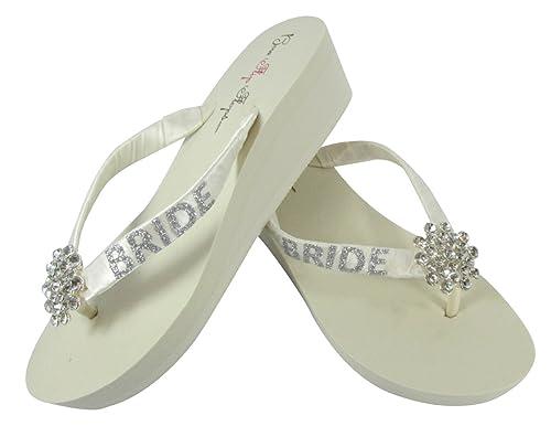 1004d9bfae2e41 Large jeweled embellishment Glitter Wedding Flip Flops for the Bride Wedge  Bridal Ivory or White Platform