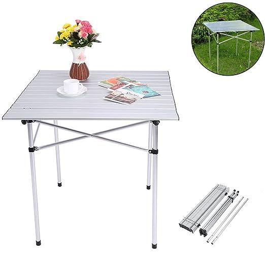 Zerone Mesa de camping de aluminio, mesa plegable para jardín ...