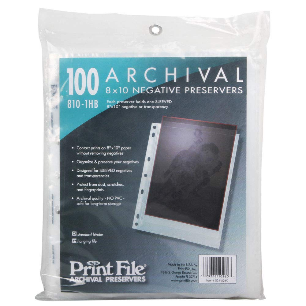 100pcs Print File 8x10 Large Format Negative Pages Sleeved Film Archival 810-1HB by Print File
