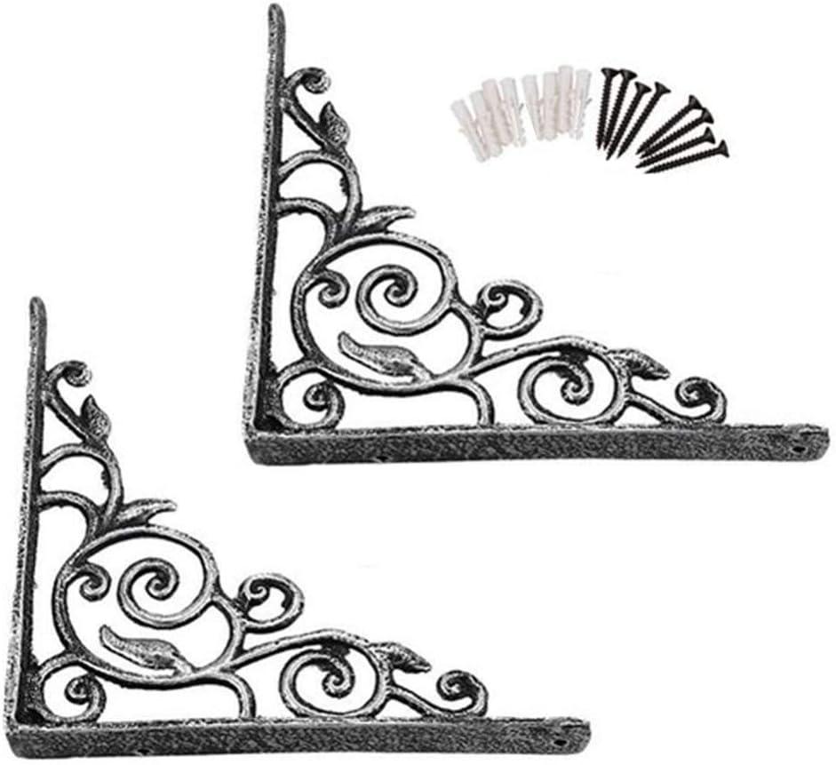 Soportes de estante: patrón adornado de estante victoriano para colgar en la pared - Hierro fundido - Soporte de montaje en pared de carrete largo de 215 mm (paquete de 2) con tornillo