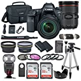 Canon EOS 6D Mark II DSLR Camera Bundle Canon EF 24-70mm f/2.8L II USM Lens + 2pc SanDisk 32GB Memory Cards + Premium Accessory Bundle Kit (19 Items)