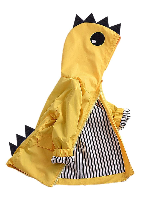 Dirance Baby Unisex Cute Long Windbreaker Small Dinosaur Jacket Raincoat Hoodie Sweater Yellow