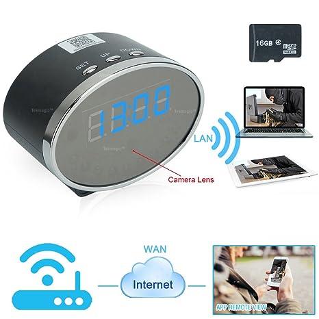 TEKMAGIC 16GB 1920x1080P HD Red WiFi Cámara Espía Reloj Interior Movimiento Activado Grabadora de Vídeo Soporte