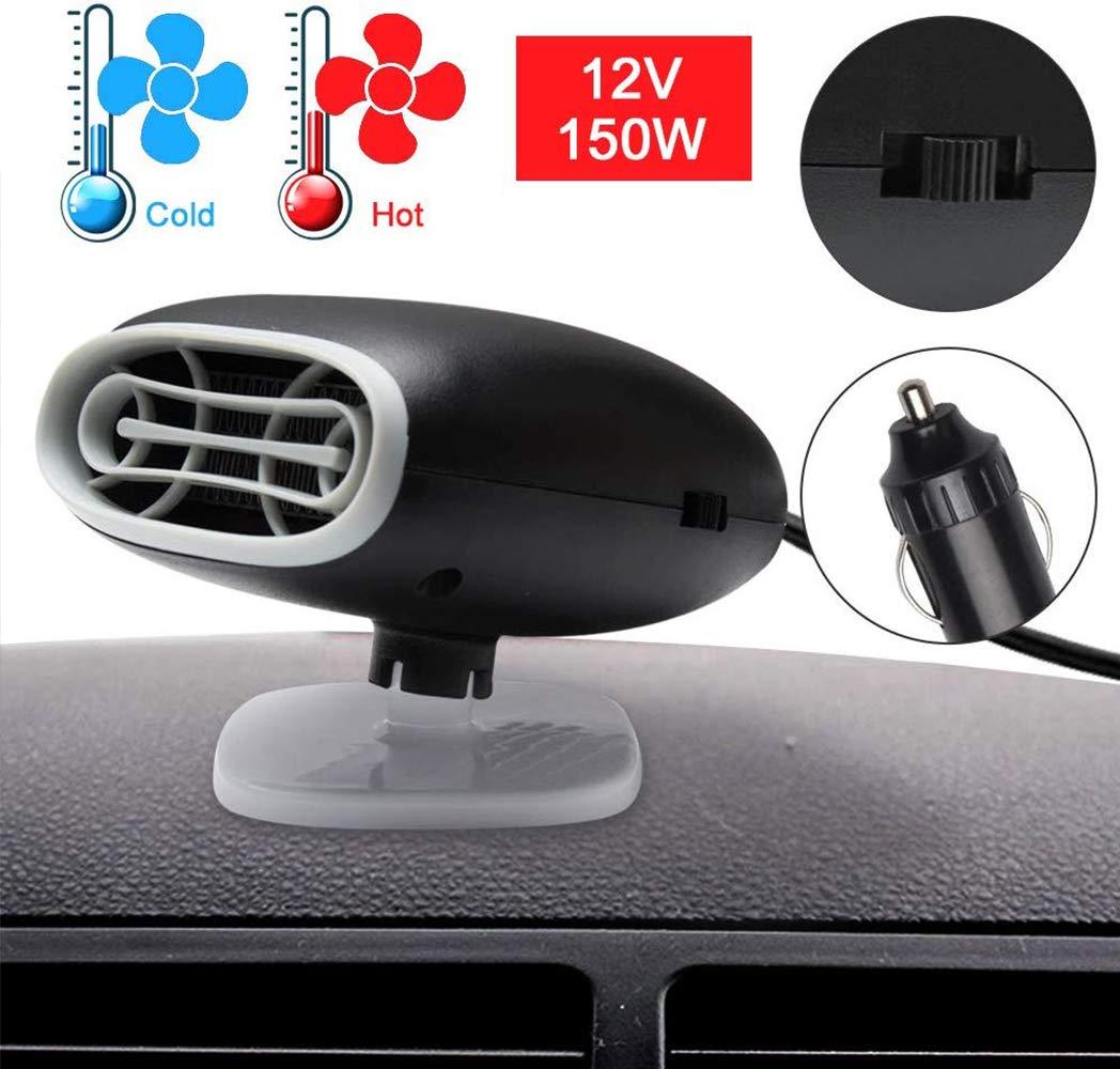 SUNWAN 2 in 1 Fast Heating /& Cooling Fan for Automobile Windscreen Defrosting Defog /& Keeping Warm 12V 150W Portable Car Heater Black