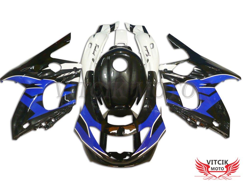VITCIK (フェアリングキット 対応車種 ヤマハ Yamaha YZF600R Thundercat 1997-2007 YZF 600R 97-07) プラスチックABS射出成型 完全なオートバイ車体 アフターマーケット車体フレーム 外装パーツセット(ブラック & ブルー) A019   B075H278FB
