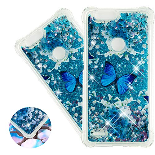 HMTECHUS ZTE Blade Z MAX case Liquid Sparkle Floating Thin Quicksand Shockproof Protective Shell Hybrid TPU Gel Bumper Cover for ZTE Sequoia Z982 / ZTE Zmax Pro 2 Bilng Blue Butterfly YB