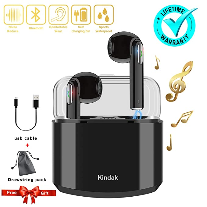 Kindak Compatible para Todos Móviles y Android Inalámbricos Auriculares Bluetooth Wireless In-Ear Micrófonos Manos Libres Cascos Earbuds Mini Headphone ...