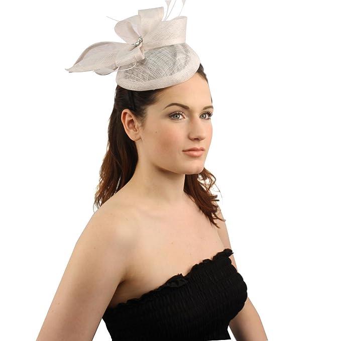 397091141d958 SK Hat shop Elegant Derby Feather Jewel Headband Fascinator Cocktail Mini  Church Hat White