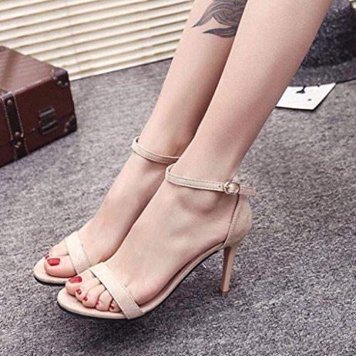 Fheaven Donna Sandali Da Donna Cinturino Alla Caviglia Con Tacco Alto Per Le Scarpe Open Toe Scarpe Sandali Bieige