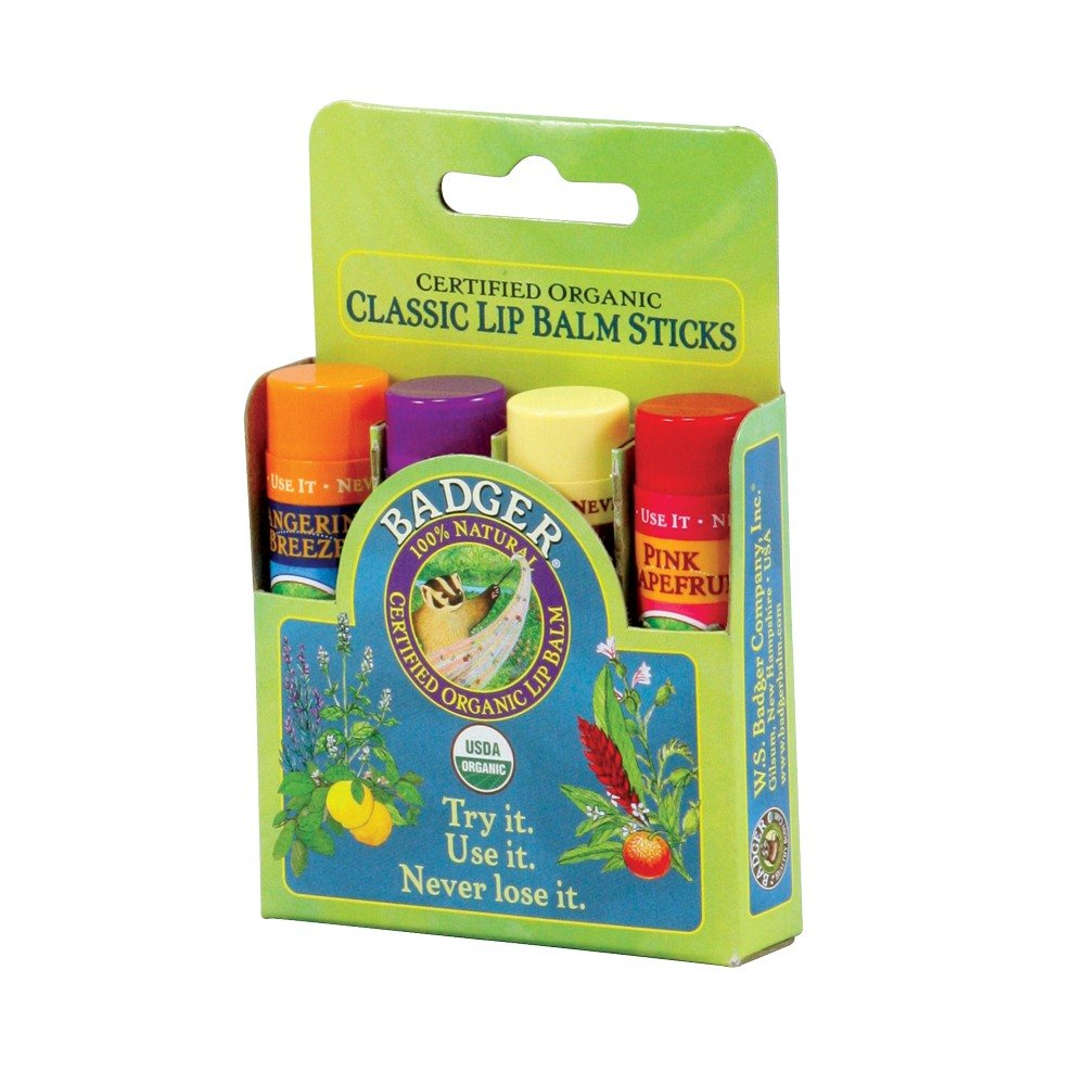 Badger Classic Lip Balm Sticks Green Set 4 Different Lip Balms USDA Organic Bad-7936