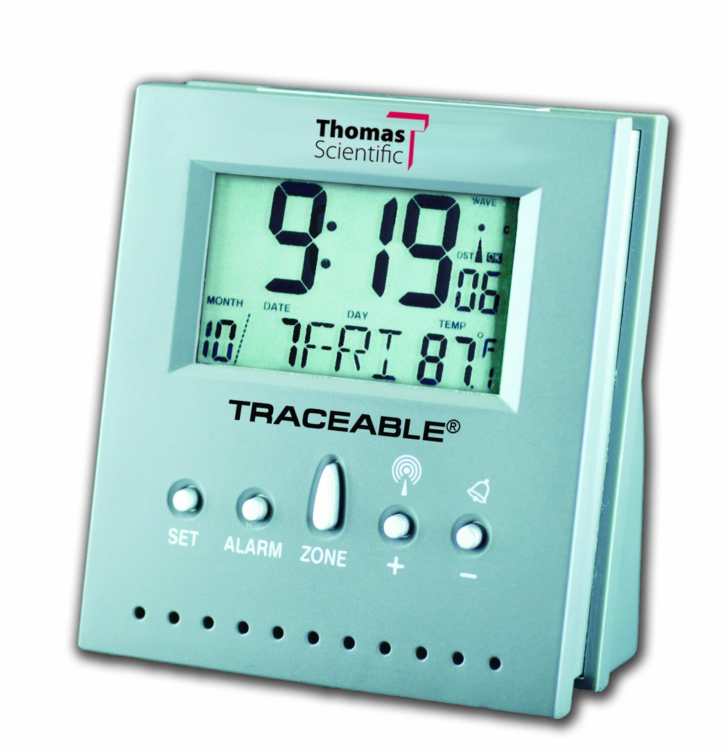 Thomas 5125 Workstation Traceable Radio-Controlled Atomic Clock, 2.5'' Width x 3'' Height x 1.5'' Thick, 32 to 158 degree F
