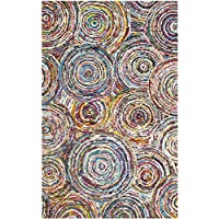 Safavieh Nantucket Collection NAN514A Handmade Abstract Circles Multicolored Cotton Area Rug (6 x 9)