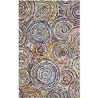 Safavieh Nantucket Collection NAN514A Handmade Abstract Circles Multicolored Cotton Area Rug (6' x 9')