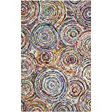 Cheap Safavieh Nantucket Collection NAN514A Handmade Abstract Circles Multicolored Cotton Area Rug (4′ x 6′)