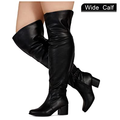 150cfb4f5c2 RF ROOM OF FASHION Women s Wide Calf Over The Knee Chunky Heel Stretch Boots  Black PU